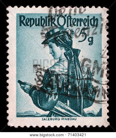 AUSTRIA - CIRCA 1949: a stamp printed in the Austria shows Woman from Salzburg, Pinzgau, Regional Costume, circa 1949