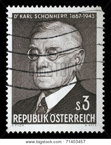 AUSTRIA - CIRCA 1967: stamp printed by Austria, shows Dr. Karl Schonherr, circa 1967