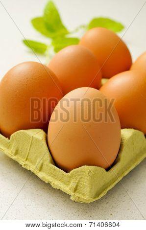 closeup of a pile of brown eggs brown eggs in an egg carton on a kitchen countertop