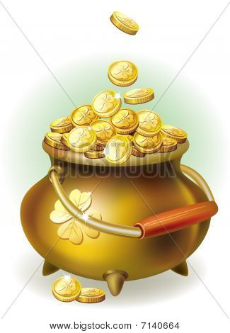 Magic pot with gold coin