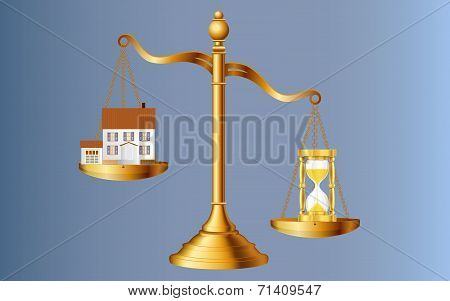 A house and a sand clock on the two side of balance