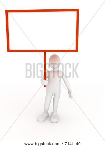 Pessoa 3D com cartaz em branco