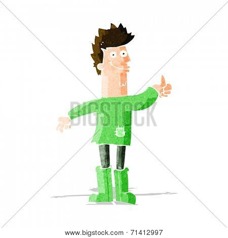 cartoon positive thinking man in rags