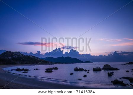 beach in sunset, landscpae in guangdong china.