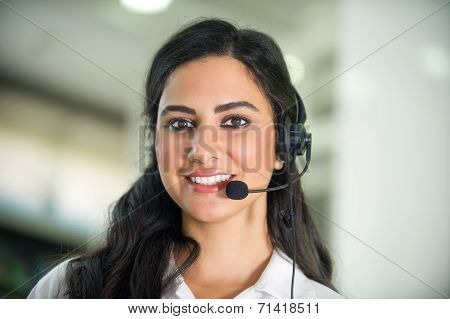 customer service worker, call center smiling operator with phone headset