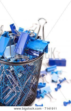Blue Binder Clips In Bucket