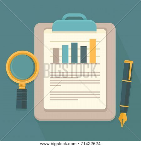 Vector Business Report In Flat Style