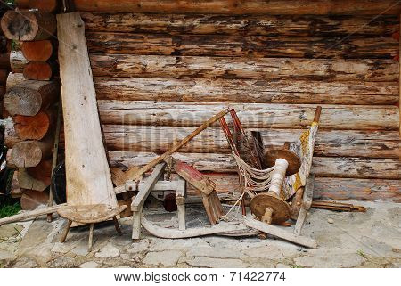Wooden Objects Outside Forest Hut