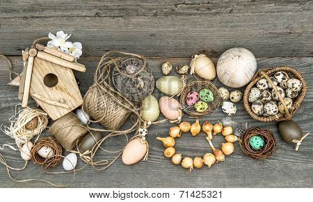 Vintage Decoration With Eggs And Flower Bulbs