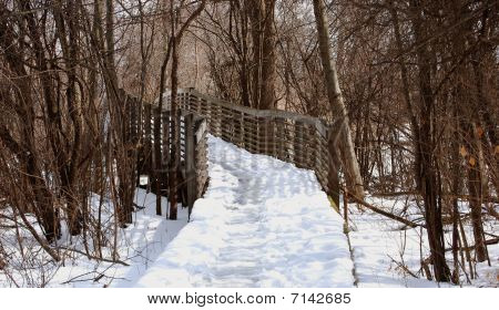 Wooden Bridge In Park With Turn, Winter
