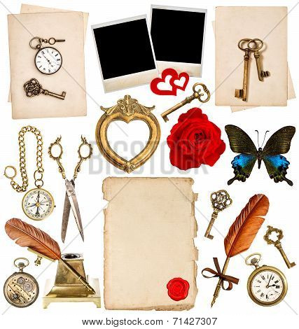 Antique Clock, Key, Photo Frame, Feather Pen, Butterfly