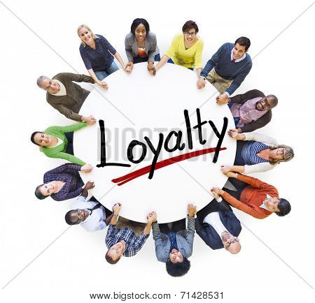 Group of People Holding Hands Around Letter Loyalty