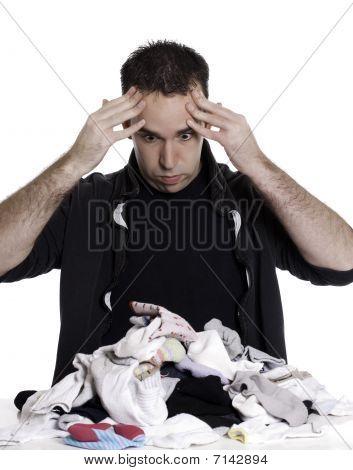 Man Sorting Laundry
