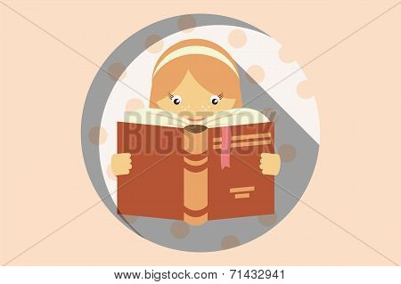 Girl reading a book, imagination and education concept, vector
