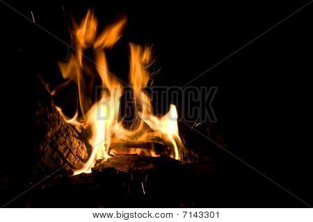 Flames of Fire in a Fireplace