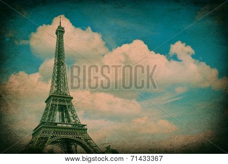 Eiffel Tower Against Blue Sky. Vintage Picture
