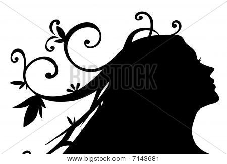 Silhouette Of Female Face And Vines Pattern