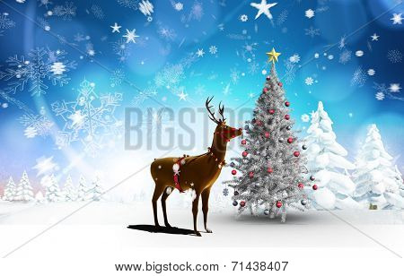 Composite image of christmas tree and reindeer against snowy landscape with fir trees