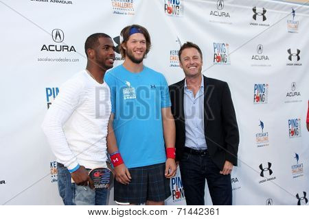 LOS ANGELES - SEP 4:  Chris Paul, Clayton Kershaw, Chris Harrison at the Ping Pong 4 Purpose Charity Event at Dodger Stadium on September 4, 2014 in Los Angeles, CA