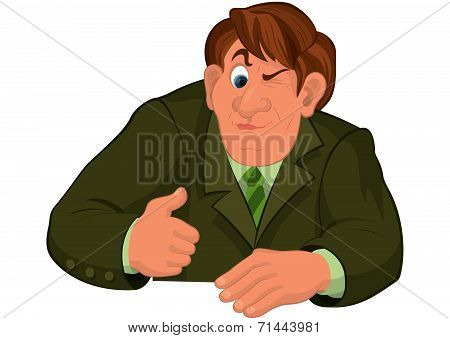 Cartoon Man Torso In Green Jacket With One Eye Closed