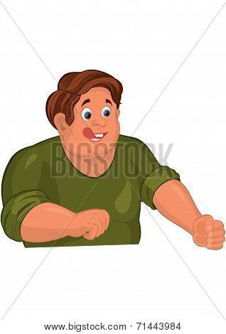 Cartoon Man Torso In Green With Tongue