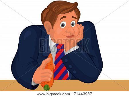 Cartoon Man Torso In Striper Tie With Carrot