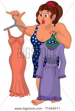 Cartoon Overweight Young Woman Holding Dresses