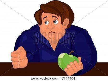 Cartoon Sad Man Torso In Blue Top With Apple