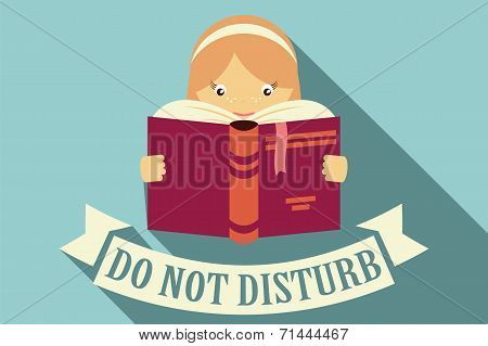 Girl reading a book, do not disturb sign, imagination and education concept, vector
