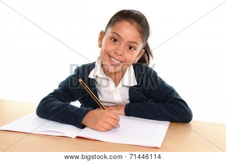 Happy Child With Notepad Smiling In Back To School And Education Concept