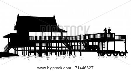 Editable vector silhouette of an extensive wooden terrace over water with people as separate objects