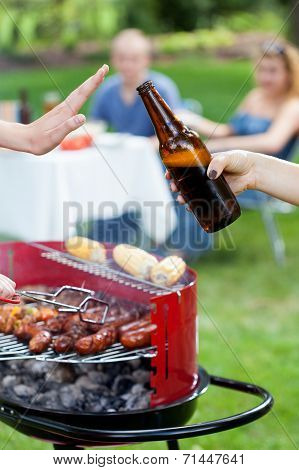 Someone Doesn't Want Beer On Barbecue