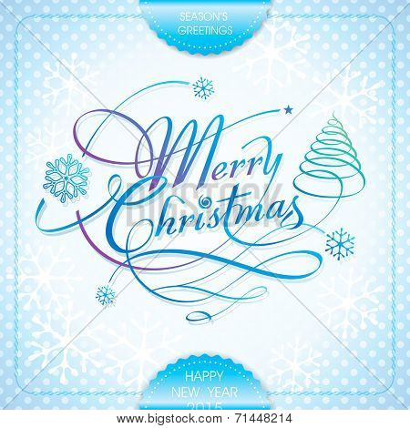 Merry Christmas handwriting calligraphy lettering season's greeting design. Vector.