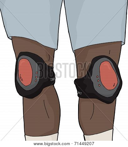 Isolated Knee Pads On Legs