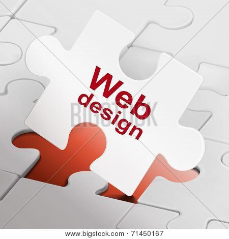 Web Design On White Puzzle Pieces