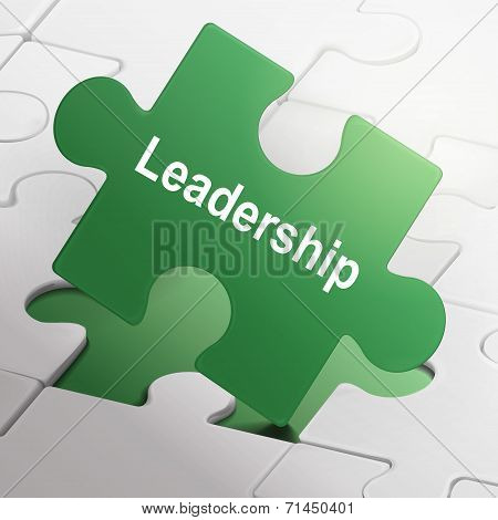 Leadership Word On Green Puzzle Pieces
