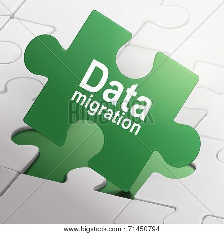 Data Migration On Green Puzzle Pieces