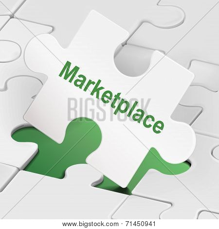 Marketplace Word On White Puzzle Pieces