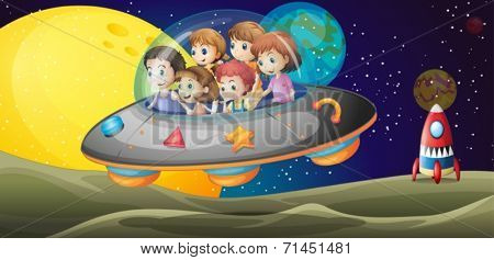 Illustration of the kids in the outerspace