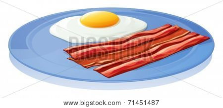 Illustration of a plate with an egg and a bacon on a white background