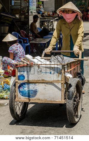 Bottle vendor in Asian country