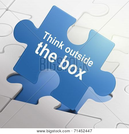 Think Outside The Box On Blue Puzzle Pieces
