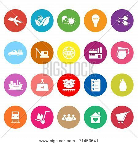 Supply Chain And Logistic Flat Icons On White Background