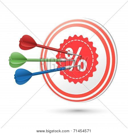 Sale Concept Target With Darts Hitting On It