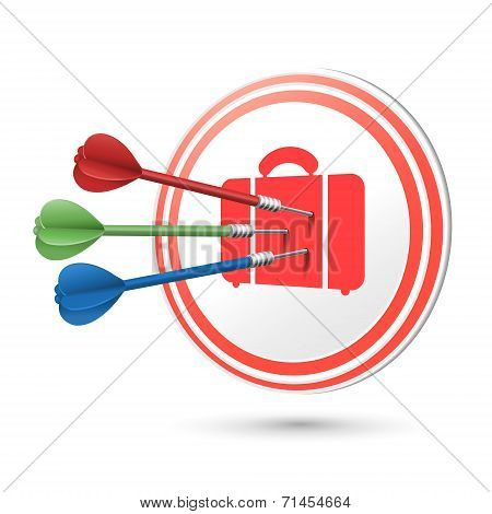 Suitcase Icon Target With Darts Hitting On It