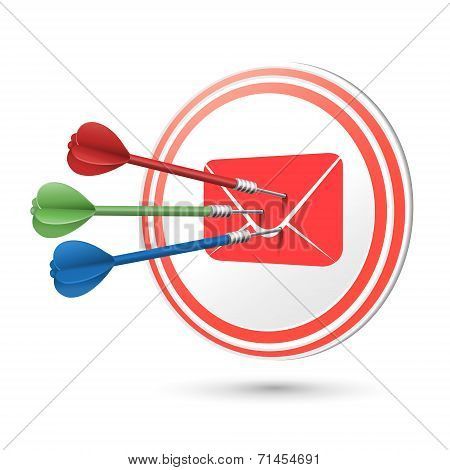 Newsletter Concept Target With Darts Hitting On It