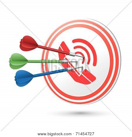 Contact Us Concept Target With Darts Hitting On It