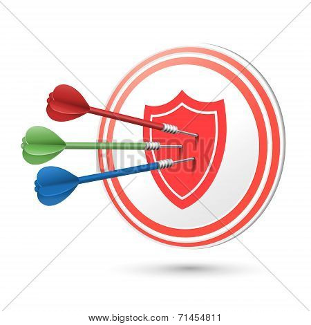 Success Protection Concept Target With Darts Hitting On It