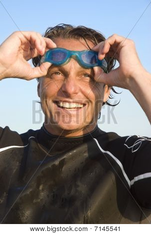 happy smiling triathlete