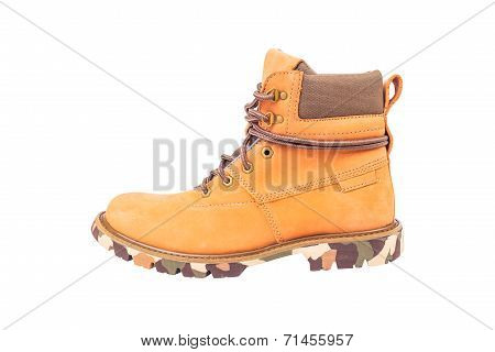 Boots Brown Color On White Background